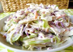 This apple coleslaw recipe looks good, but the picture does NOT seem to match the ingredients. Still, the recipe itself might work. Salad Recipes, Diet Recipes, Cooking Recipes, Coleslaw Recipes, Free Paleo Recipes, Healthy Recipes, Apple Coleslaw, Apple Slaw, Paleo Vegetables
