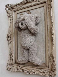 Old diy cheap teddy bear picture frame from Walmart only $15.00
