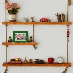Massive Handmade 3 Shelves with Rope Custom Jewelry Design, Custom Design, Wood Shelves, Floating Shelves, All Wall, Free Gifts, Natural Wood, Woodworking Plans, Home Accessories