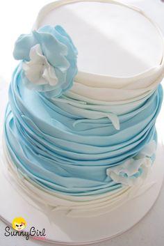 Pastel Blue Wedding ideas for Same Sex Wedding… Wedding ideas for brides, grooms, parents Gorgeous Cakes, Pretty Cakes, Amazing Cakes, Haute Cakes, Ruffle Cake, Ruffles, Round Wedding Cakes, Creative Cakes, Celebration Cakes