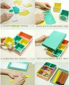 DIY paper box organizers - great way to get the office/craft storage you need by customizing to your needs Diy Gift Box, Diy Box, Diy Gifts, Handmade Gifts, Diy Paper, Paper Crafts, Diy Desktop, Papier Diy, Diy Storage Boxes