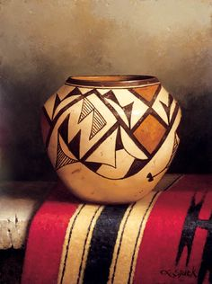 Indian Pottery with Rug - Loran Speck - 2005 October Auction Native American Artwork, Native American Pottery, American Indian Art, American Indians, Southwest Pottery, Southwestern Art, Pottery Painting, Pottery Art, Indian Ceramics