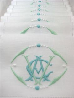 Very pretty green and aqua blue color combination on these monogrammed cocktail napkins.  It reminds me of the ocean.