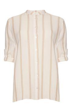 Taupe Stripe Neru Collar Laundered Shirt