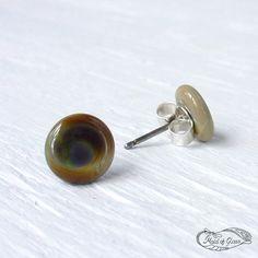 handmade lampwork glass stud earrings  - subtle #rainbow ~ www.MaidofGlass.co.uk