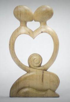 Fairtrade Natural Wooden Statue - Heart - 30 Cm | Fair Trade Gift Store | Siiren