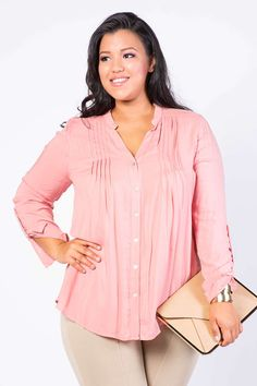 Pleated Button Up Top
