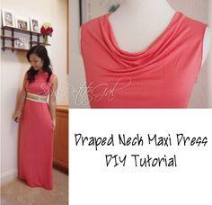 Draped Neck Maxi Dress DIY Tutorial - SewPetiteGal