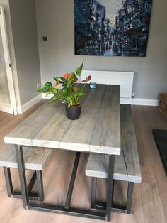 Industrial Style Reclaimed Wood Grey Washed Dining Table and Benches - www.reclaimedbespoke.co.uk