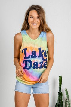 Womens Clothing Womens Blouses Womens A-Line Tie Dye Tank Festival Clothing Ladies LARGE Gifts For Her Summer Vacation Top
