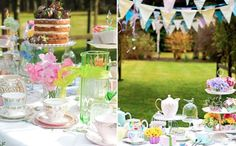 Throw a tea party  Mismatched teacups, glassware, and tea pots will help to invoke all the zaniness of the Mad Hatter's tea party - especially when you team it with pretty bunting and flowers.