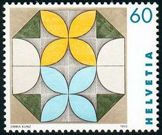 stamp on the work of Emma Kunz, who lived in Switzerland from 1892 - 1963.
