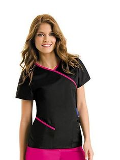 cute scrubs for work Urbane Contrast wrap around in black and neon pink Vet Scrubs, Medical Scrubs, Cute Nursing Scrubs, Dental Scrubs, Scrubs Outfit, Cute Scrubs Uniform, Medical Uniforms, Work Uniforms, Cute Nurse