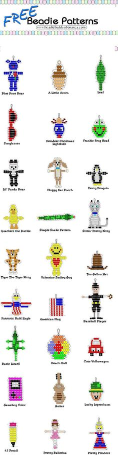 More Bead Animal Patterns - One would be surprised at how many things you can make with pony beads and string. More Bead Animal Patterns - One would be surprised at how many things you can make with pony beads and string. Pony Bead Projects, Pony Bead Crafts, Beaded Crafts, Beaded Ornaments, Beading Projects, Beading Tutorials, Pony Bead Animals, Beaded Animals, Pony Bead Patterns
