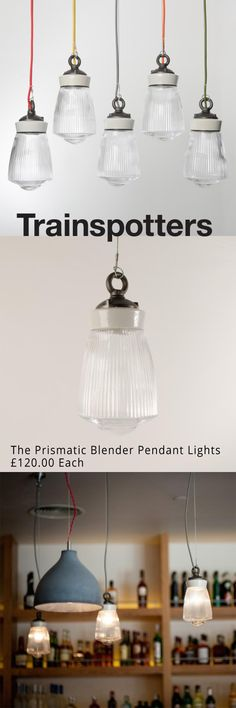A bespoke prismatic glass enclosure mounted on a porcelain and cast-iron gallery.  - Built-in porcelain E27 bulbholder. - 1.5m braided electrical flex in a choice of colours. £120.00 Each
