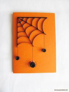 Halloween Spider Card Quilled Black Spider Web by GermanistikArt