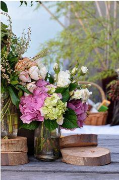hydrangea + garden rose