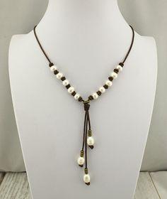 Collar cuero perla collar de nudo de perlas collar por Haohaopearls