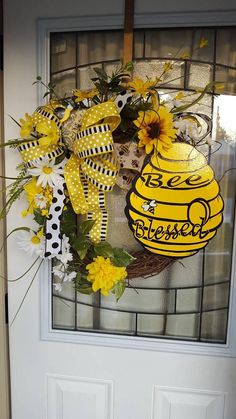 Bee Wreath Blessed Wreathspring Wreathsummer Bumble Hive
