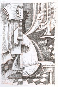 Pen and Ink Sketch by Barry Coombs - 'Cubist' Drawing in Pen an W/C-Fall 2010