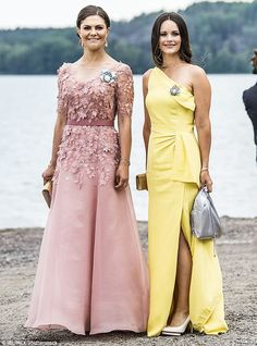 Lookalikes: Crown Princess Victoria, left, with sister-in-law Princess Sofia, right, at the nuptials