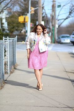 a97f762f948 Ashley Nell Tipton JCPenney Floral Moto and Lace Dress Plus Size  Inspiration