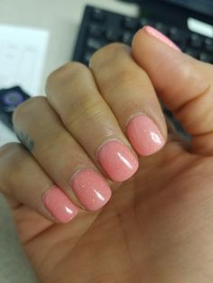 """Absolutely obsessed with dipping powder nails. SNS """"pretty in pink""""."""