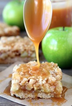 Salted Caramel Apple Crumb Bars on twopeasandtheirpod.com You have to make these bars!