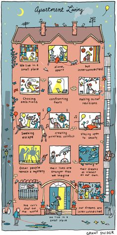 """""""Apartment Living"""" Poster sold by Incidental Comics. Shop more products from Incidental Comics on Storenvy, the home of independent small businesses all over the world. Life Comics, Writing Inspiration, Apartment Living, Comic Strips, Cute Art, Art Inspo, Illustration Art, Creations, Character"""