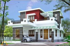 Gallery of Kerala home design, floor plans, elevations, interiors designs and other house related products House Roof Design, Flat Roof House, 2 Storey House Design, Duplex House Design, House Front, Front Elevation Designs, House Elevation, Roof Architecture, Modern Architecture House