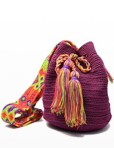 """Woven Mayan mochila bag, perfect for the beach or a night out. This is a product that fits perfectly with our """"slow fashion"""" philosophy! So many colors to choose from, how shall we pick? :D   Mexico fashion bags, style, function and giving back to the community."""