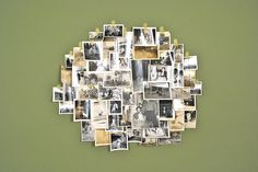 neat way to display photos - find an old mirror or frame and cover with pictures