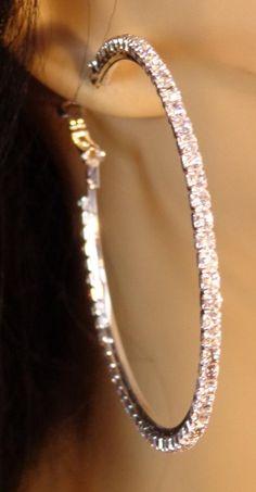 LARGE inch Crystal Line Hoop Earrings Thin Cast Silver Tone rhinestone Hoops Earrings Rhodium Plated Hoops LARGE inch Crystal Line Hoop Earrings Thin Cast Silver Tone rhinestone Hoops Earrings Rhodium P Jewelry Tags, Ear Jewelry, Bridal Jewelry Sets, Cute Jewelry, Modern Jewelry, Jewellery, Bamboo Hoop Earrings, Diamond Hoop Earrings, Silver Hoop Earrings