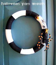 halloween yarn wreath- under $10!