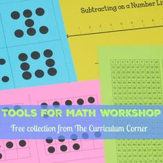 These free math workshop tools for students have been created by The Curriculum Corner. Printable math tools for your math workshop. Division Activities, Counting Activities, Hands On Activities, Daily 3 Math, 1st Grade Math, Second Grade, Math Tools, Math Memes, Math Manipulatives