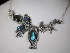 Antiqued Recycled Fine Silver Blue Labradorite Tear Drop Pear Vines Leaves Sterling Necklace