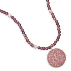 """17.5"""" Pink Glass and Cultured Freshwater Pearl Drop Necklace"""