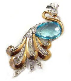 Early Boucher Huge Aquamarine Crystal Pave Rhinestone Peacock PIN   eBay