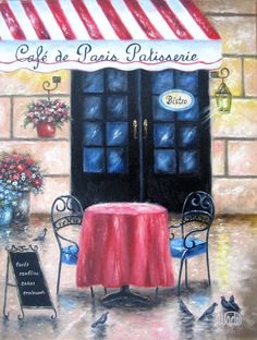 French Cafe Original Oil Painting cafe by VickieWadeFineArt