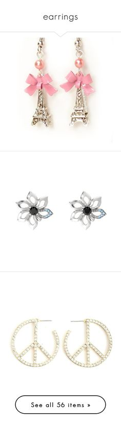 """earrings"" by courtney-paige-mcintosh ❤ liked on Polyvore featuring jewelry, earrings, accessories, brincos, jewels, silver charms, glass bead earrings, glass bead charms, glass earrings and pink bow earrings"