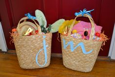 Clutter free and (almost) candy free Easter baskets. After all, it's not really an Easter basket without a chocolate bunny.