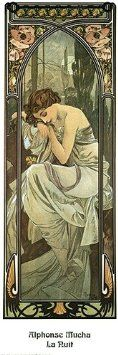 "Amazon.com: LA NUIT, 1899 (ART PRINT) ALPHONSE MARIE MUCHA (12""x36""): Home & Kitchen"