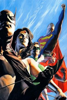 Justice League-Alex Ross ross marvel frost four ramos kirby lee deodato surfer bianchi men Alex Ross, Arte Dc Comics, Marvel Girls, Comic Book Heroes, Comic Books Art, Justice League, Dc Comics Super Heroes, Hq Dc, Univers Dc