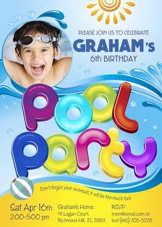 Pool Party Invitation | Customize it with your little boy as the star of his invite! Summer party. Barbecue party. #poolparty #poolbirthday #summerparty #barbecueparty #myheroathome