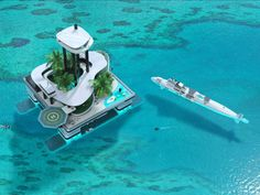 Migaloo Submersible Yacht is the first private submarine superyacht, combining a private floating island. The Migaloo Submersible Yacht combines the luxury of a… Kokomo Island, Portable Island, Floating House, Floating Island, Yacht Design, Digital Trends, Sea World, Water Crafts, Monaco