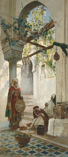 Entrance of a mosque in Tlemcen in Algeria, Oriental painting of 1882 by Valery Jacobi. Art Arabe, Arabian Art, Middle Eastern Art, Islamic Paintings, Academic Art, Historical Art, A4 Poster, Arabian Nights, Vintage Artwork