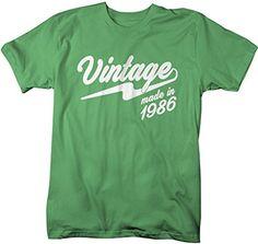 Shirts By Sarah Men's Vintage Made In 1986 T-Shirt Retro Birthday Shirts