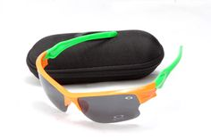 Oakley Fast Jacket Sunglass Orange Green Frame Black Lens