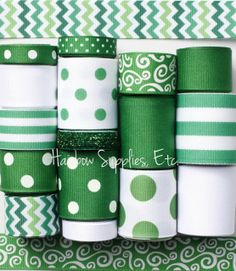 St Patrick's Day Chevron Ribbon Lot 16 Yards by HairbowSuppliesEtc