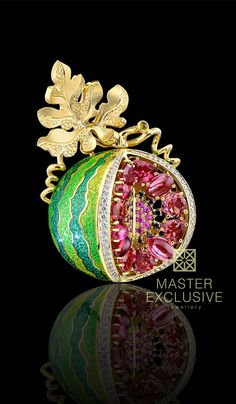 Watermelon brooch, Fruits and berry 18K yellow gold, diamonds, black diamonds, pink sapphires, tourmalines pink and green, enamel. Z